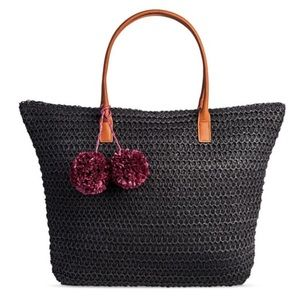 Black Straw Tote + PomPoms
